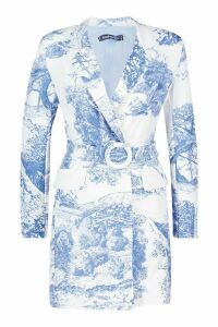 Womens All Over Print Belted Blazer Dress - blue - 10, Blue