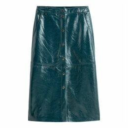 Faux Leather Skirt with Press-Stud Front
