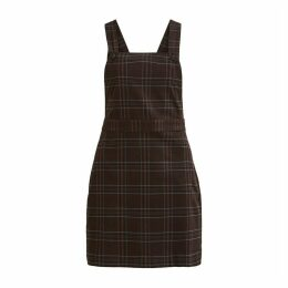 Short Checked Dungaree Dress