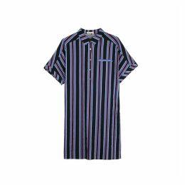 Vertical Striped Shirt Dress with Tie-Waist