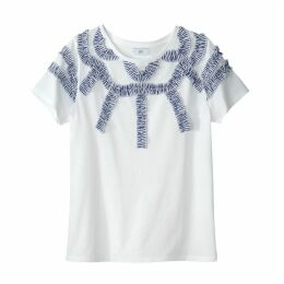 T-Shirt with Striped Ruffled Detail