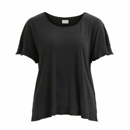 Short-Sleeved Ruffled Crew Neck T-Shirt