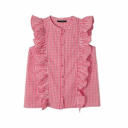 Gingham Check Blouse with Ruffles