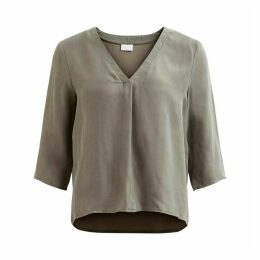 V-Neck Blouse with 3/4-Length Sleeves