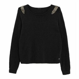 Knitted Jumper with Pearls on the Shoulders