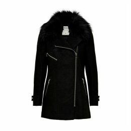 Asymmetric Zip Coat with Faux Fur Collar Hood and Pockets