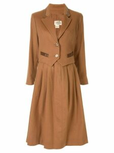 Hermès Pre-Owned logo button skirt suit - Brown