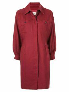 Hermès Pre-Owned slim waist knee-length coat - Red