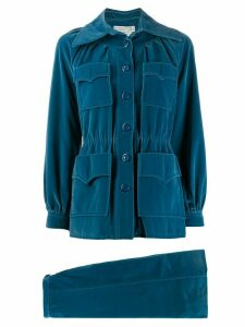 Emanuel Ungaro Pre-Owned 1970s velour skirt suit - Blue