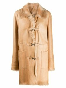 A.N.G.E.L.O. Vintage Cult 2000s crocodile effect hooked coat - Brown