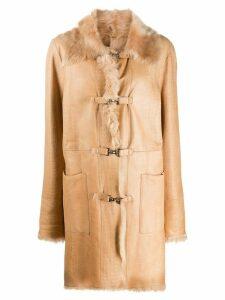 A.N.G.E.L.O. Vintage Cult 2000s crocodile effect hooked coat - Brown