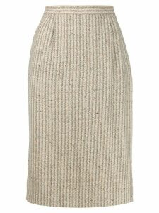 Valentino Pre-Owned 1990s striped straight woven skirt - Neutrals
