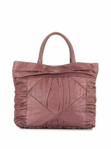 Prada Pre-Owned pleated logo plaque tote - Pink