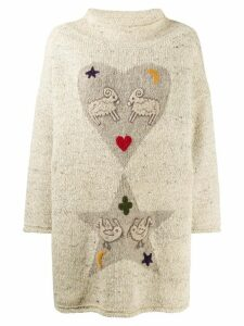 JC de Castelbajac Pre-Owned 1980s embroidered animal jumper - Neutrals