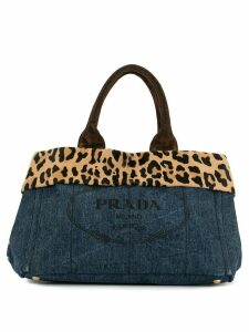 Prada Pre-Owned Canapa leopard detail tote - Blue