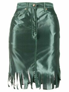 Jean Paul Gaultier Pre-Owned 1991 frayed trim skirt - Green