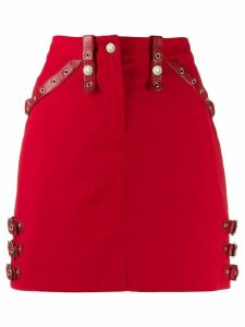 Christian Dior Pre-Owned 2000s leather strapped fitted skirt - Red