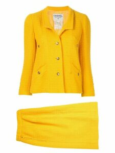 Chanel Pre-Owned CC setup suit jacket skirt - Yellow