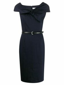 Christian Dior Pre-Owned 2000s draped bow fitted dress - Blue