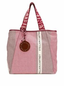 Stella McCartney logo-stripe shopper tote - Red