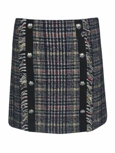 Veronica Beard Side Button Embellished Checked Skirt