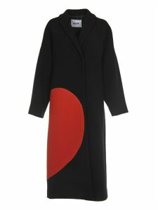 MSGM Black Long Coat With Broken Heart