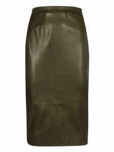 Rochas Waist Fit Leather Skirt