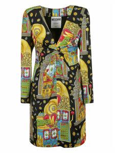 Moschino Multi-print V-neck Dress