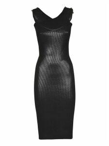 Versace Jeans Couture Laminated Ribbed Dress