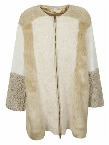 Stella McCartney Fur Detailed Zipped Coat