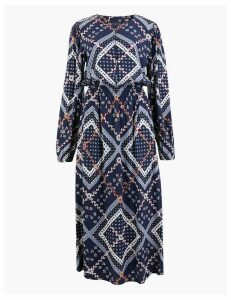 M&S Collection Patchwork Printed Waisted Midi Dress