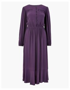 M&S Collection Button Front Waisted Midi Dress