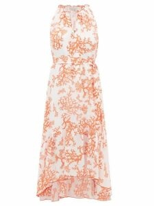 Heidi Klein - Belize Coral Print Dipped Hem Silk Dress - Womens - Red White