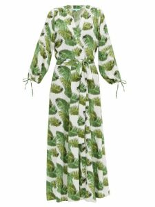Melissa Odabash - Margo Palm Print Poplin Wrap Dress - Womens - White Print
