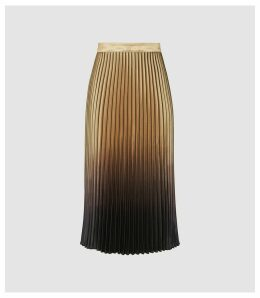 Reiss Marlene - Ombre Pleated Midi Skirt in GOLD/BLACK, Womens, Size 14