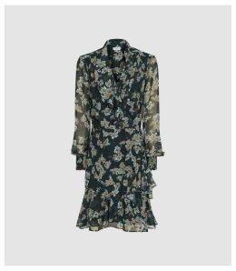 Reiss Marseille - Ruffle Printed Chiffon Dress in Navy, Womens, Size 16