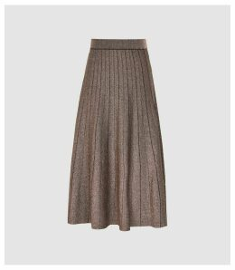 Reiss Bea - Metallic Pleat-effect Skirt in Bronze, Womens, Size XXL