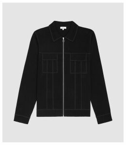 Reiss Jupiter - Twin Pocket Zip Through Top in Black, Mens, Size XXL