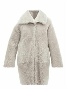 Herno - Shearling Coat - Womens - Light Grey