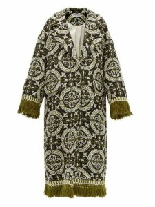 Rave Review - Lue Tasselled Vintage Jacquard Coat - Womens - Green Multi