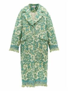 Rave Review - Lue Tasselled Vintage Jacquard Coat - Womens - Green Multi