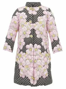 0 Moncler Genius Richard Quinn - Floral-print Matelassé Down-filled Coat - Womens - Black Multi