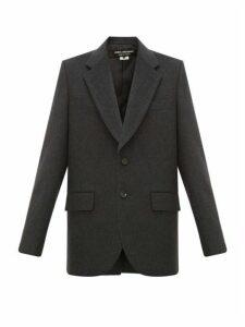 Junya Watanabe - Single Breasted Wool Blend Blazer - Womens - Dark Grey