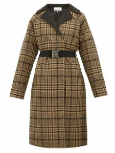 Ganni - Belted Checked Wool Blend Coat - Womens - Black Brown