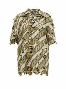 Edward Crutchley - Laser Cut Floral Jacquard Wool Top - Womens - Brown Multi