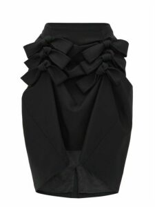 Noir Kei Ninomiya - Asymmetric Hem Wool Gabardine Midi Skirt - Womens - Black