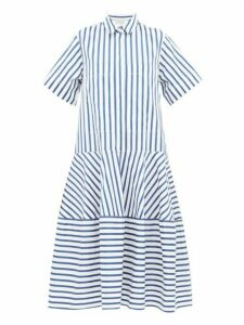 Lee Mathews - Ottilie Striped Cotton Poplin Midi Shirtdress - Womens - Blue White