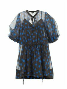 Lee Mathews - Rayne Puff Sleeve Polka Dot Organza Mini Dress - Womens - Black Navy