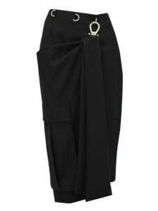 Prada - Draped Panel Tricotine Pencil Skirt - Womens - Black