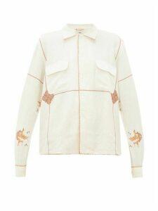 Bode - Mayflower Havana Embroidered Linen Blend Shirt - Womens - White